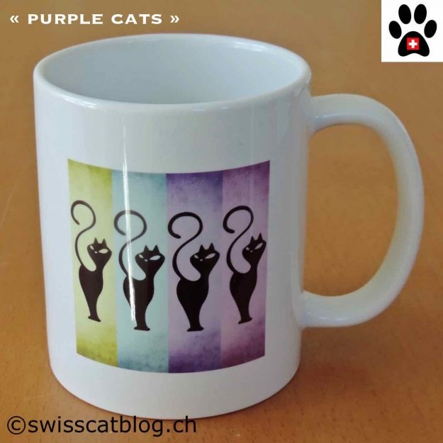 mug artinco purple cats